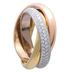 Cartier Trinity Diamond Pave Rolling Gold Band Ring