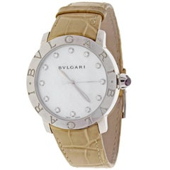Bulgari Ladies Stainless Steel mother-of-pearl dial Automatic Wristwatch