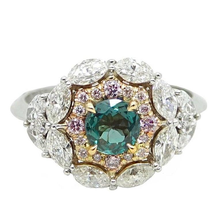Alexandrite, Diamond and Pink Diamond 18 Karat Gold Ring