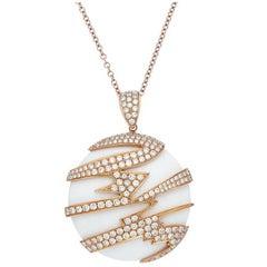 18 Karat Rose Gold, Diamond and White Onyx Necklace