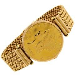 Corum Yellow Gold Coin Bracelet mechanical Wristwatch