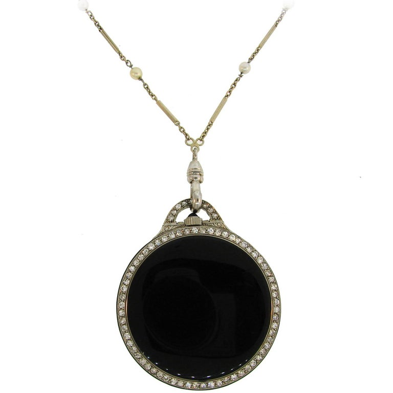 Art Deco Diamond Onyx White Gold Watch Pendant on Pearl Gold Chain Necklace
