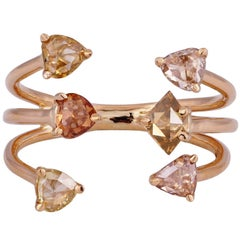 Colored Diamond and 18 Karat Gold Cocktail Ring