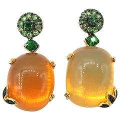 BOON Fire Opal Earrings Tsavorite Yellow Gold Black Diamond