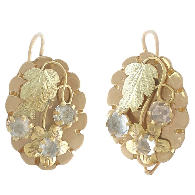 Victorian Paste and 18 Karat Yellow Gold Drop Earrings