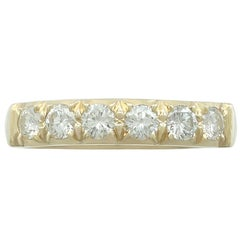 1970s Diamond Yellow Gold Half Eternity Ring