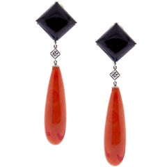 Pampillonia Large Coral and Onyx Drop Earrings