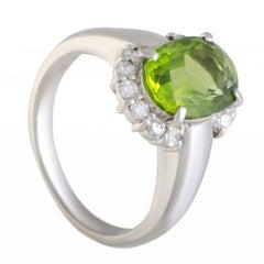 Diamond and Peridot Platinum Ring