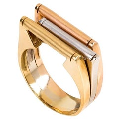 Art Deco two Color Gold Ring
