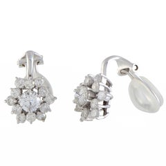 Diamond Flower Huggie Gold Earrings
