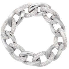 18 Karat White Gold Diamond Link Bracelet