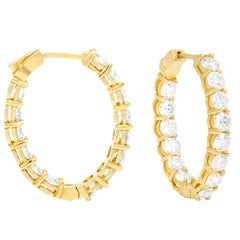 6.60 Carat Yellow Gold Diamond Hoops, 0.25 Each Stone