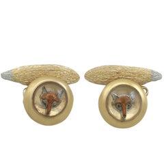 1890s Victorian Essex Crystal Yellow Gold 'Fox' Cufflinks