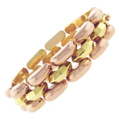 Retro-Modern Pink and Yellow Gold Bracelet