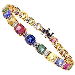 Multicolored Sapphire and Diamond Bracelet