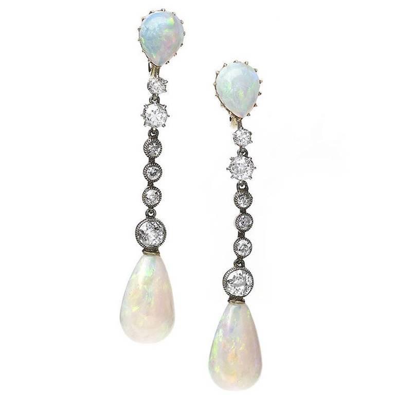 Antique Opal Drop Earrings For