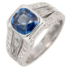 Peter Suchy 1.98 Carat Cushion Cut Sapphire Diamond Platinum Engagement Ring
