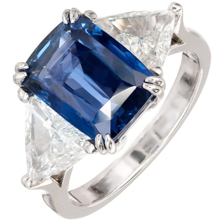 Peter Suchy 4.61 Carat Sapphire Diamond Platinum Three-Stone Engagement Ring For Sale
