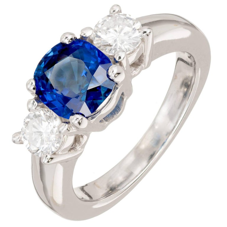 Peter Suchy 1.93 Carat Sapphire Diamond Three-Stone Gold Engagement Ring 1