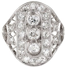 Art Deco Old European Cut Diamond Platinum Cocktail Ring