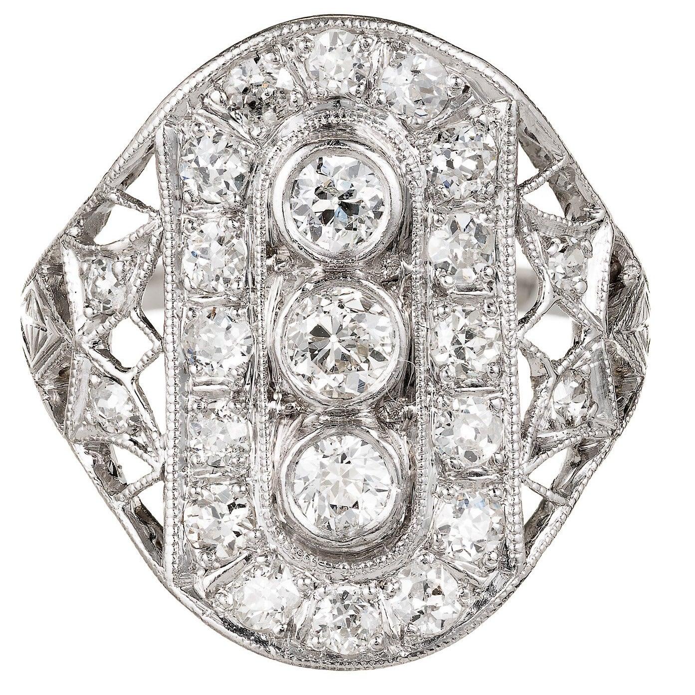 Art Deco Old European Cut Diamond Platinum Cocktail Ring