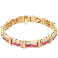 10.85 Carat Ruby Diamond Gold Link Bracelet
