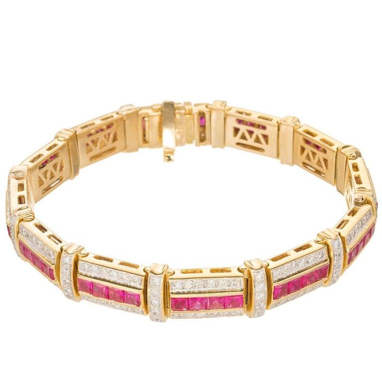 10.85 Carat Ruby Diamond Gold Link Bracelet