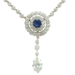 1900s 3.69 Carat Diamond and Sapphire 10 Karat Gold and Silver Set Necklace