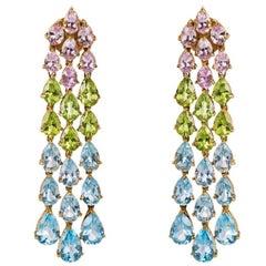 Aquamarine Peridot Kunzite  Gold Earrings