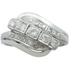 1950s Diamond and 14 Karat White Gold Dress Ring