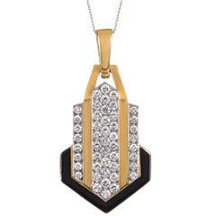 David Webb Diamonds, Enamel, Platinum and Gold Pendant Necklace