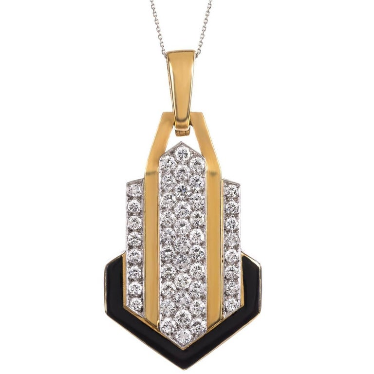 David Webb Diamonds, Enamel, Platinum and Gold Pendant Necklace