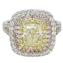 4.22 Carat Yellow, White and Pink Diamond Ring