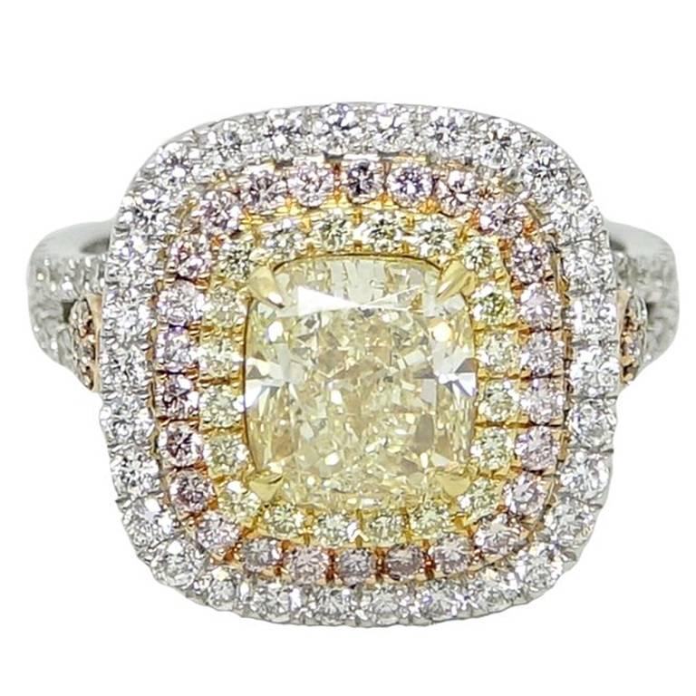4.22 Carat Yellow, White and Pink Diamond Ring