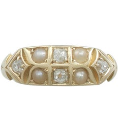 1880s Antique Victorian Seed Pearl and Diamond Yellow Gold Dress Ring