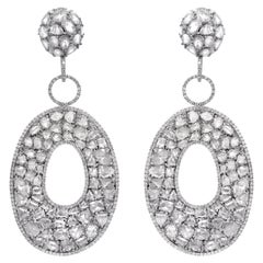 27.00 Carats Rose Cut White Gold Large Diamond Earrings