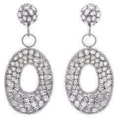 27.00 Carats Rose Cut White Gold Large Diamond Earrings