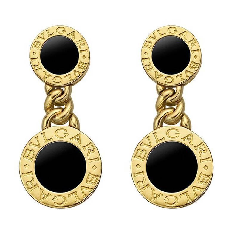Bulgari Yellow Gold Onyx Bvlgari Drop Earrings For