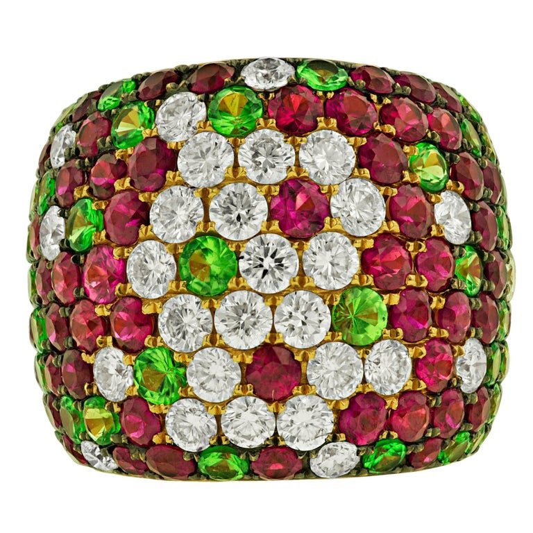 Multicolor Ruby, Tsavorite and Diamond Cigar Band