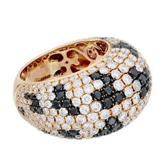 18 Karat Rose Gold Black and White Dome Diamond Ring