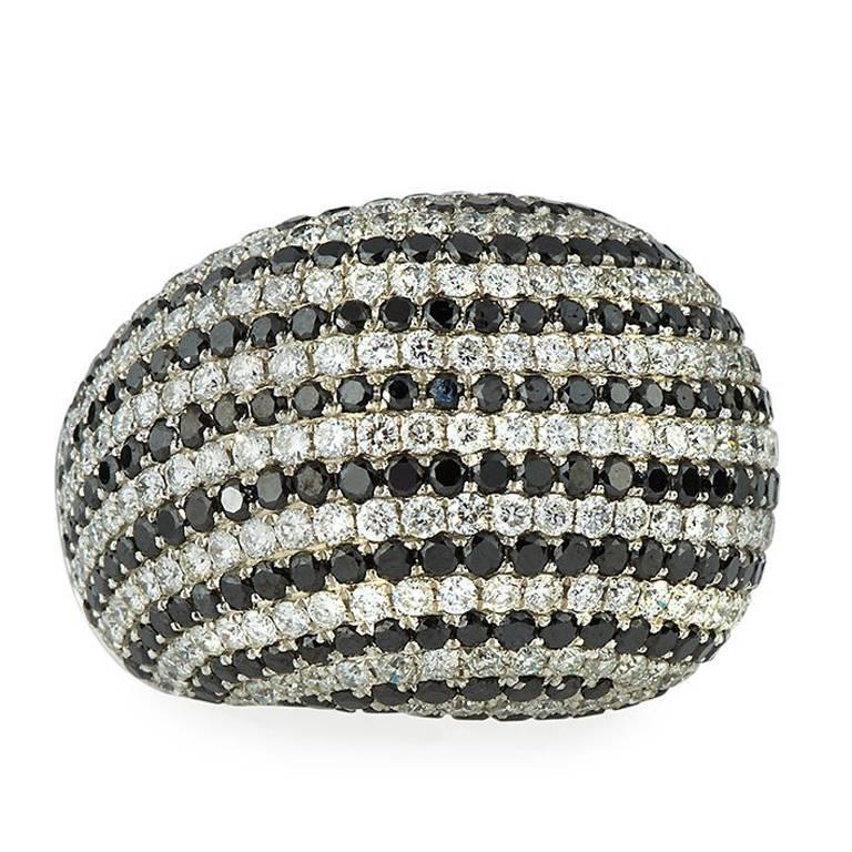7.50 Carat Black and White Diamond Dome Ring in 18 Karat White Gold