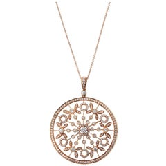 18 Karat Rose Gold Necklace with Large Diamond Pendant