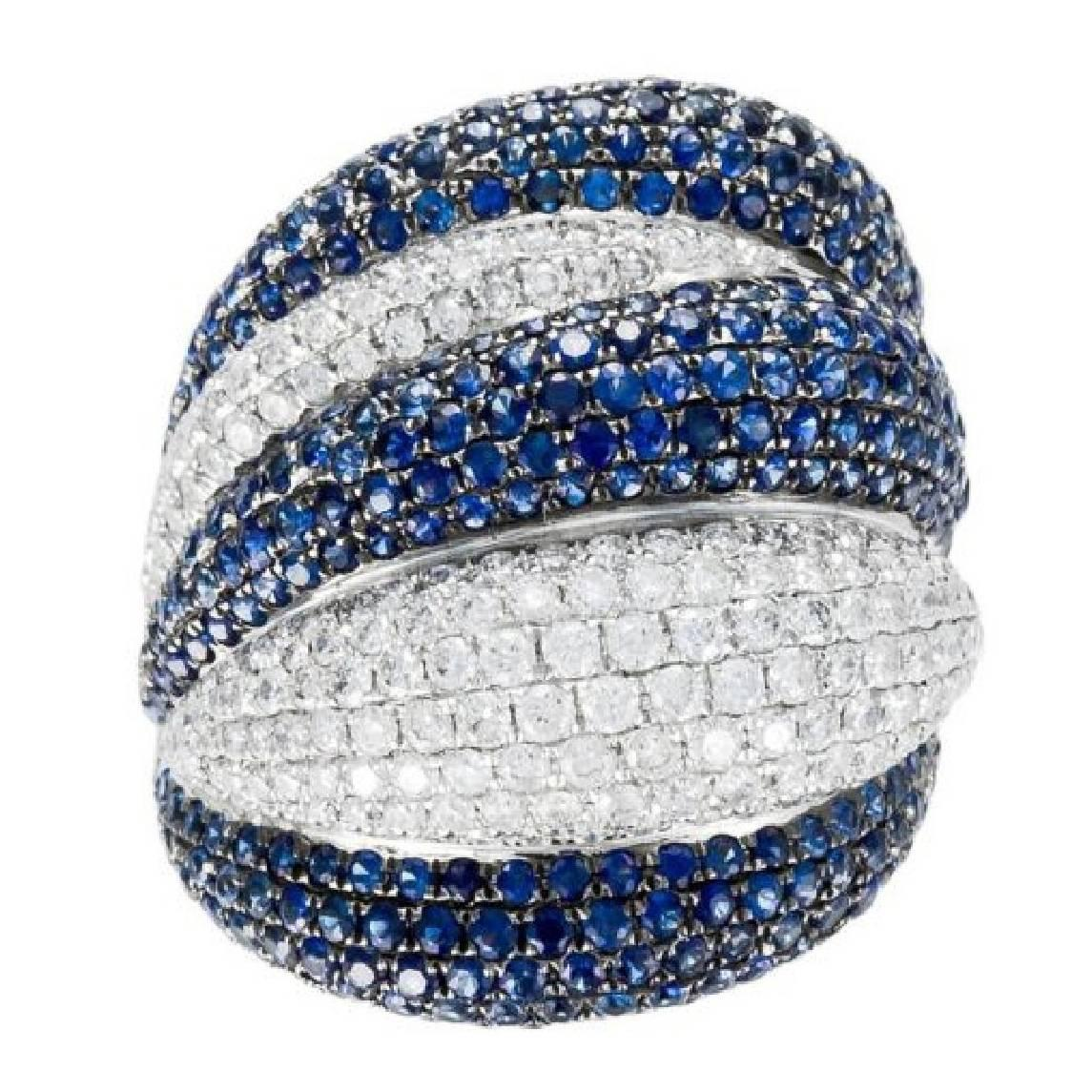 18 Karat White Gold Sapphire and Diamond Dome Ring