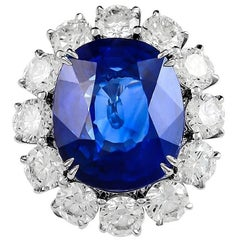 16.80 cts. Platinum Cushion Cut Sapphire and Diamond Engagement Ring