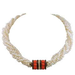 Cartier Coral, Onyx and Pearl Necklace
