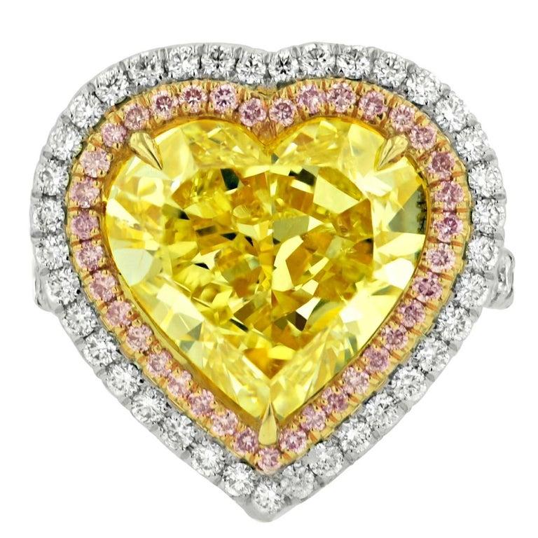 Spectacular Fancy Yellow Heart Shape Diamond Ring