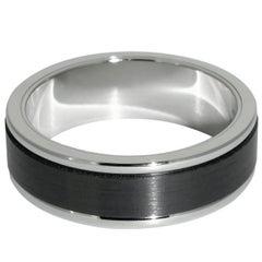 Lizunova Black Zirconium and 18 Karat White Gold Men's Band Ring