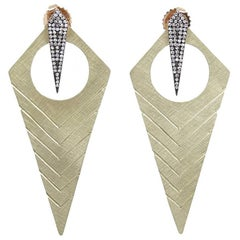 "Julez Bryant ""Long Kite"" Style Yellow Gold Earrings"
