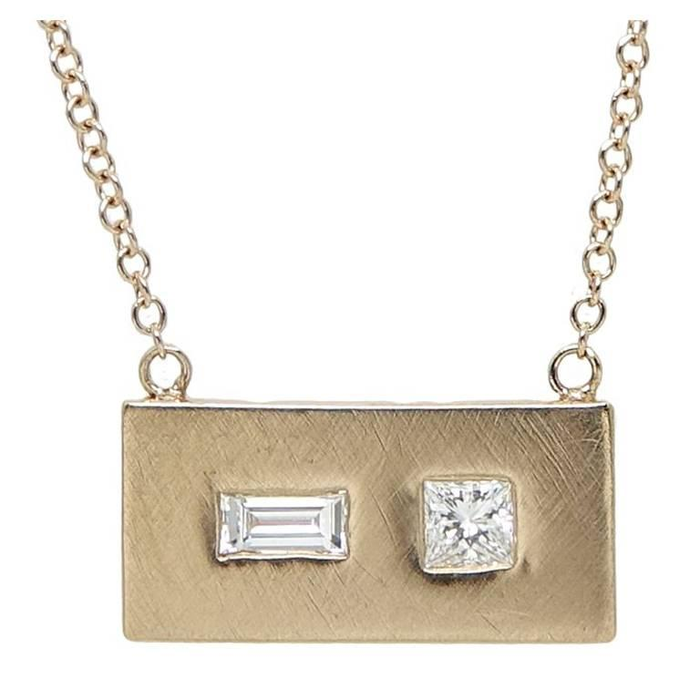 plated rectangular forged accessories gold vonasilver hammered necklaces pendant silver shop rose necklace