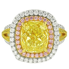 8.02 Carats Fancy Yellow Diamond Ring